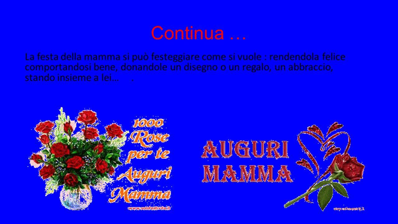 Come funziona la festa della mamma La festa della mamma si festeggia l' 11 Maggio, è un importante giorno in cui ogni bambina/o cerca di rendere felice la sua mamma.