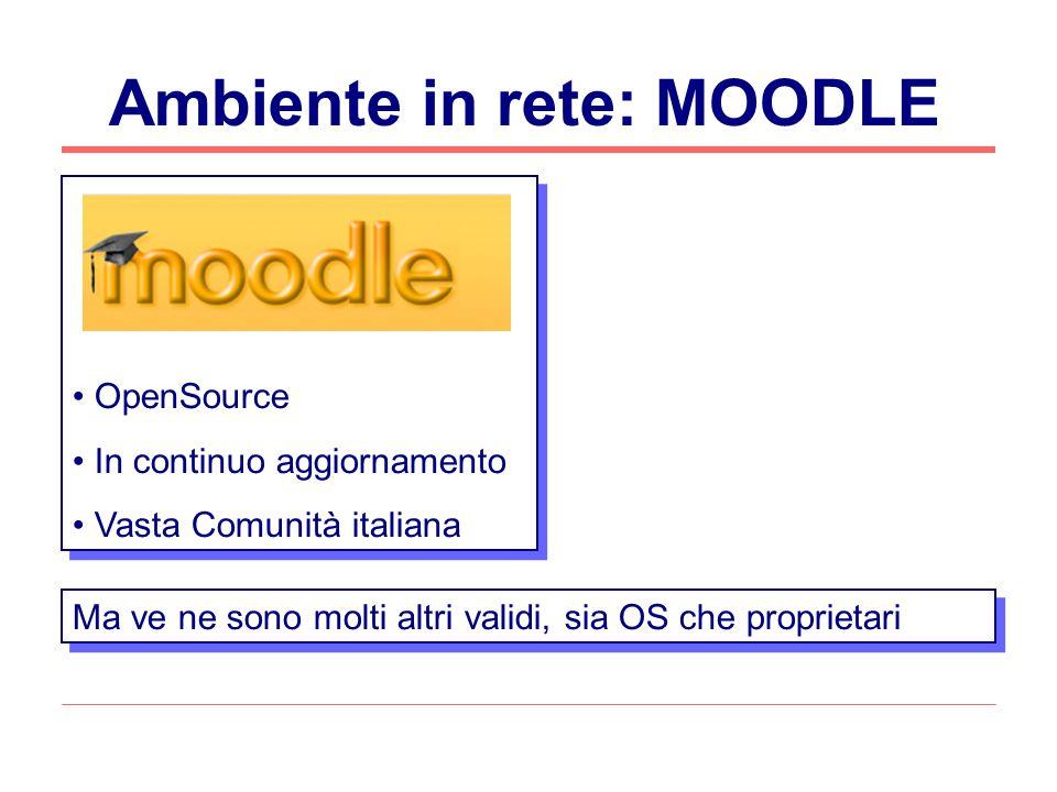 Ambiente in rete: MOODLE OpenSource In continuo aggiornamento Vasta Comunità italiana OpenSource In continuo aggiornamento Vasta Comunità italiana Ma ve ne sono molti altri validi, sia OS che proprietari