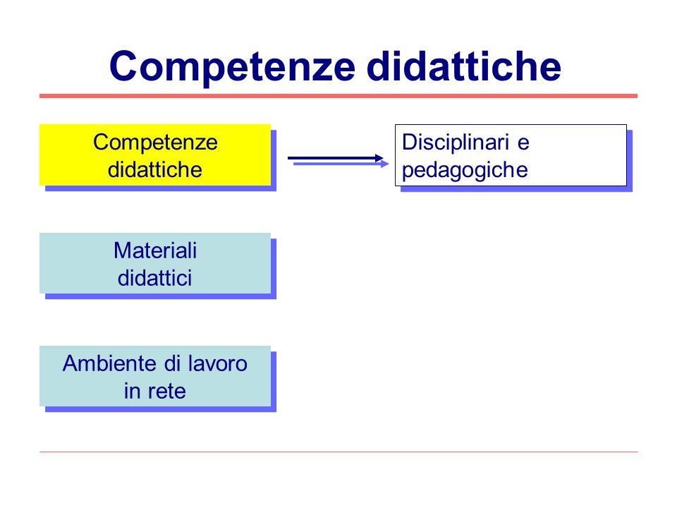 Competenze didattiche Materiali didattici Materiali didattici Ambiente di lavoro in rete Ambiente di lavoro in rete Disciplinari e pedagogiche