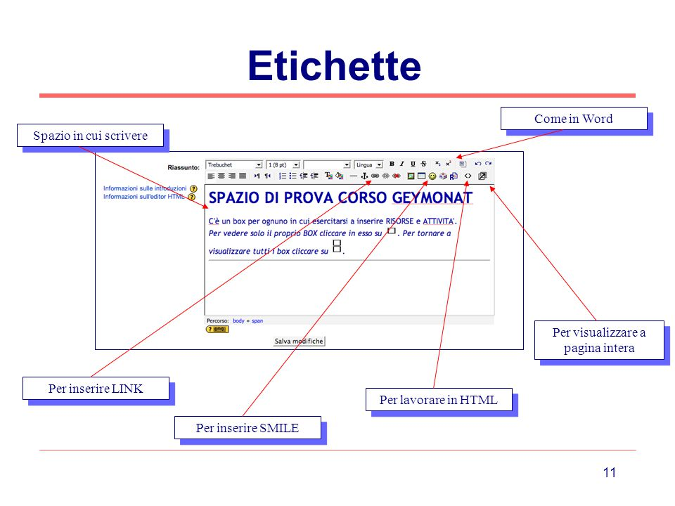 11 Etichette Spazio in cui scrivere Come in Word Per inserire LINK Per inserire SMILE Per lavorare in HTML Per visualizzare a pagina intera