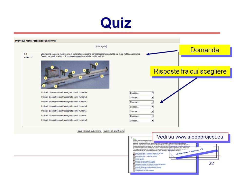 22 Quiz Vedi su www.sloopproject.eu Domanda Risposte fra cui scegliere