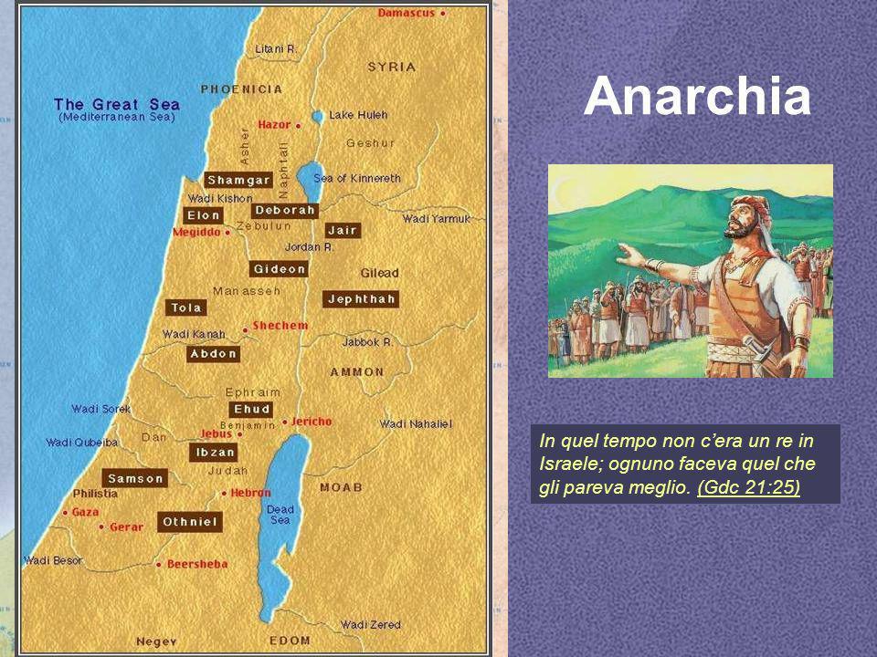 Anarchia In quel tempo non c'era un re in Israele; ognuno faceva quel che gli pareva meglio. (Gdc 21:25)(Gdc 21:25)