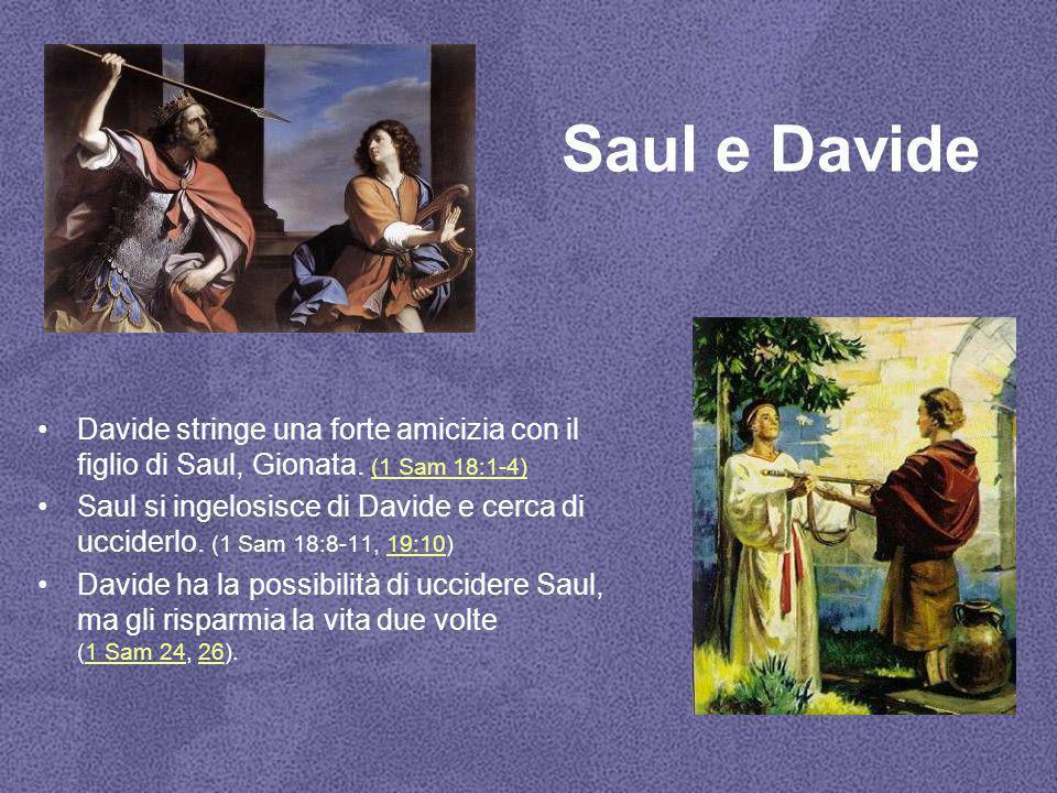 Saul e Davide Davide stringe una forte amicizia con il figlio di Saul, Gionata. (1 Sam 18:1-4) (1 Sam 18:1-4) Saul si ingelosisce di Davide e cerca di