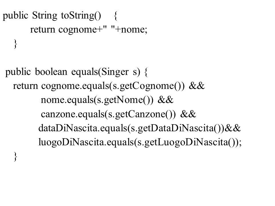 public String toString(){ return cognome+