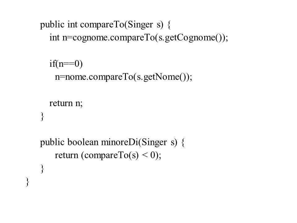 public int compareTo(Singer s) { int n=cognome.compareTo(s.getCognome()); if(n==0) n=nome.compareTo(s.getNome()); return n; } public boolean minoreDi(