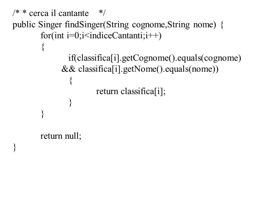 /* * cerca il cantante */ public Singer findSinger(String cognome,String nome) { for(int i=0;i<indiceCantanti;i++) { if(classifica[i].getCognome().equ