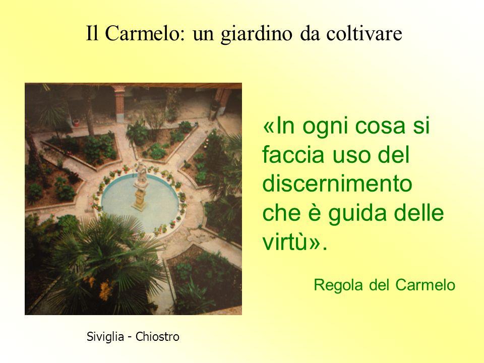 Il Carmelo: un giardino da coltivare «In ogni cosa si faccia uso del discernimento che è guida delle virtù». Regola del Carmelo Siviglia - Chiostro