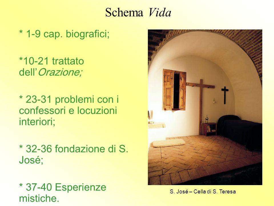 Schema Vida * 1-9 cap. biografici; *10-21 trattato dell'Orazione; * 23-31 problemi con i confessori e locuzioni interiori; * 32-36 fondazione di S. Jo