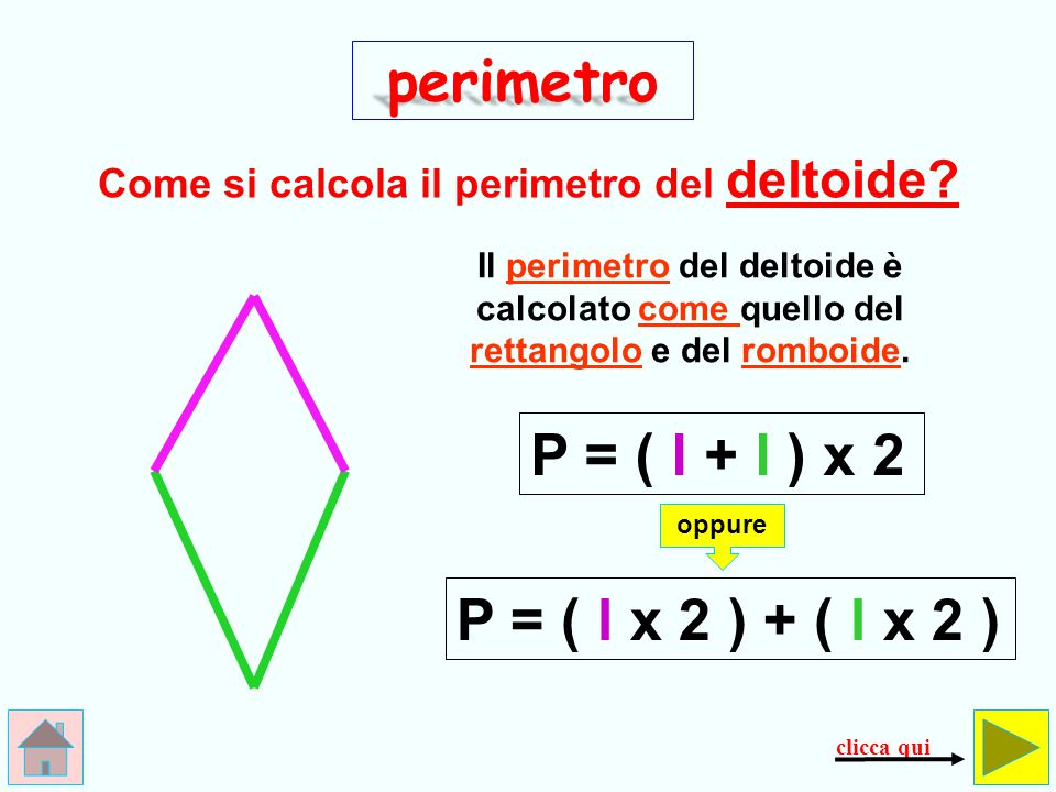 B R A V O ! ! ! perimetro P = B + b ()+)( l x 2 clicca qui