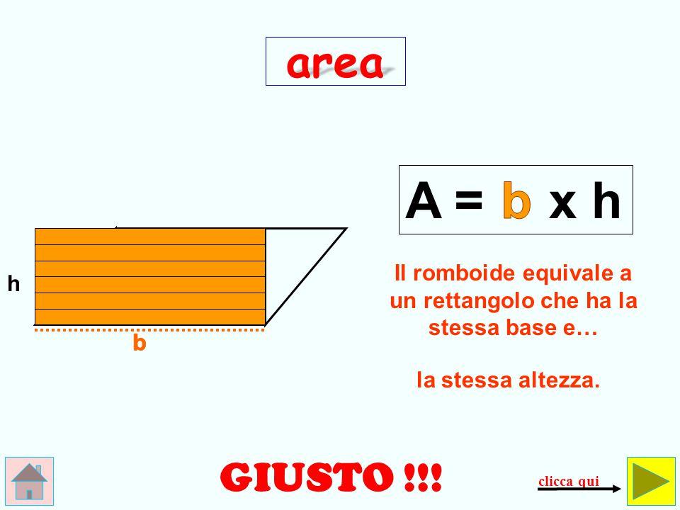 SBAGLIATO.Questa non è l'area di un romboide, ma…il perimetro di un quadrato!!.