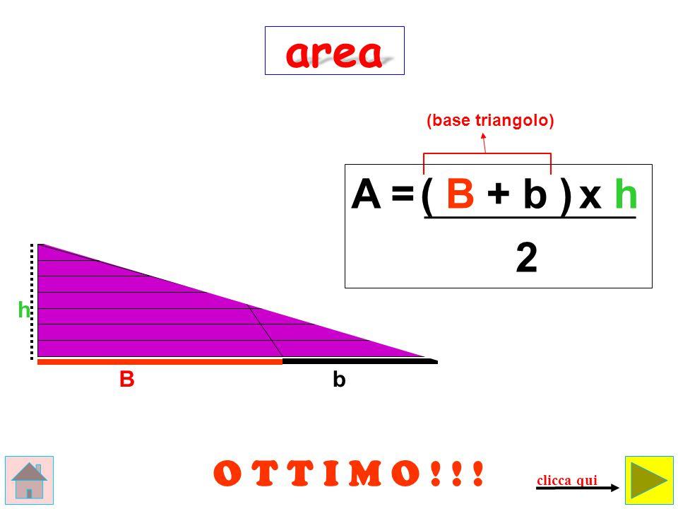 b Il trapezio equivale a un triangolo che ha per base la somma delle basi e per altezza … la stessa altezza.
