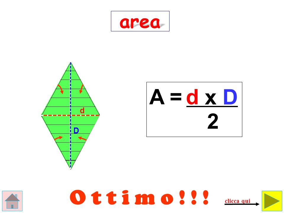 Errore ! ! ! d D area A = d x D clicca qui Questo non è un rombo ma… un rettangolo!