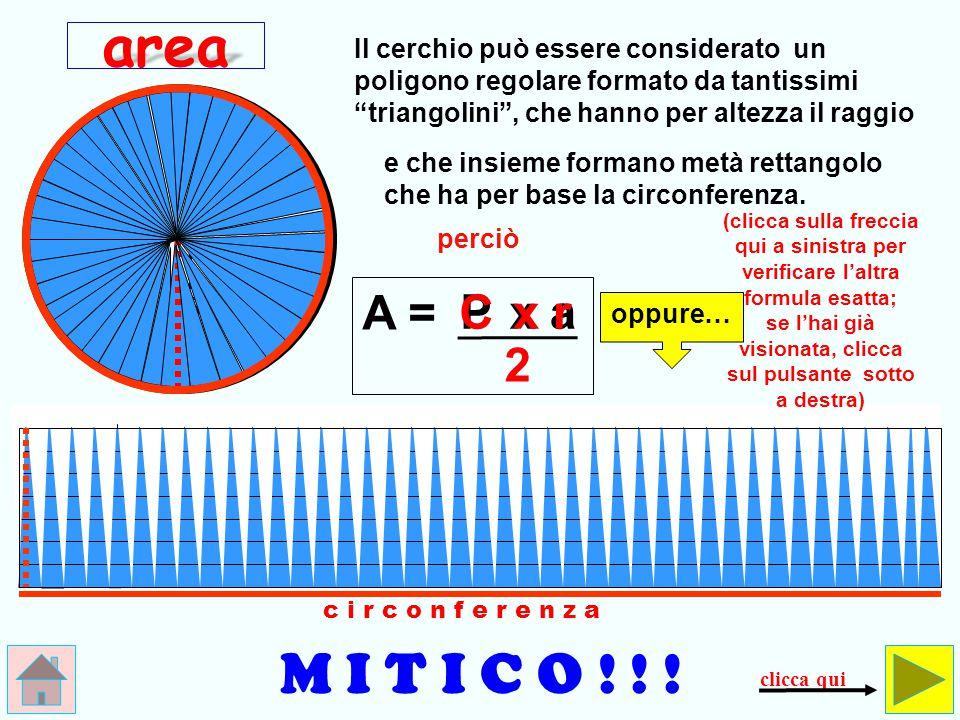 raggioraggio c i r c o n f e r e n z a 0,14 Queste sono tre circonferenze (stese) e un pezzettino (0,14), non … l'area.