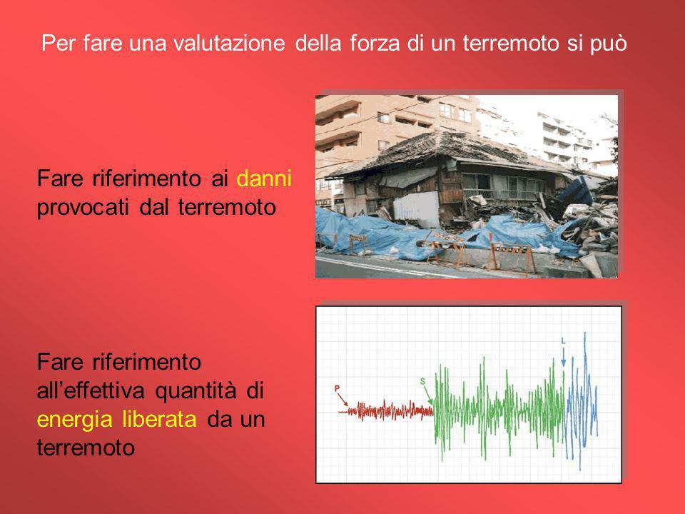 Per fare una valutazione della forza di un terremoto si può Fare riferimento ai danni provocati dal terremoto Fare riferimento all'effettiva quantità di energia liberata da un terremoto