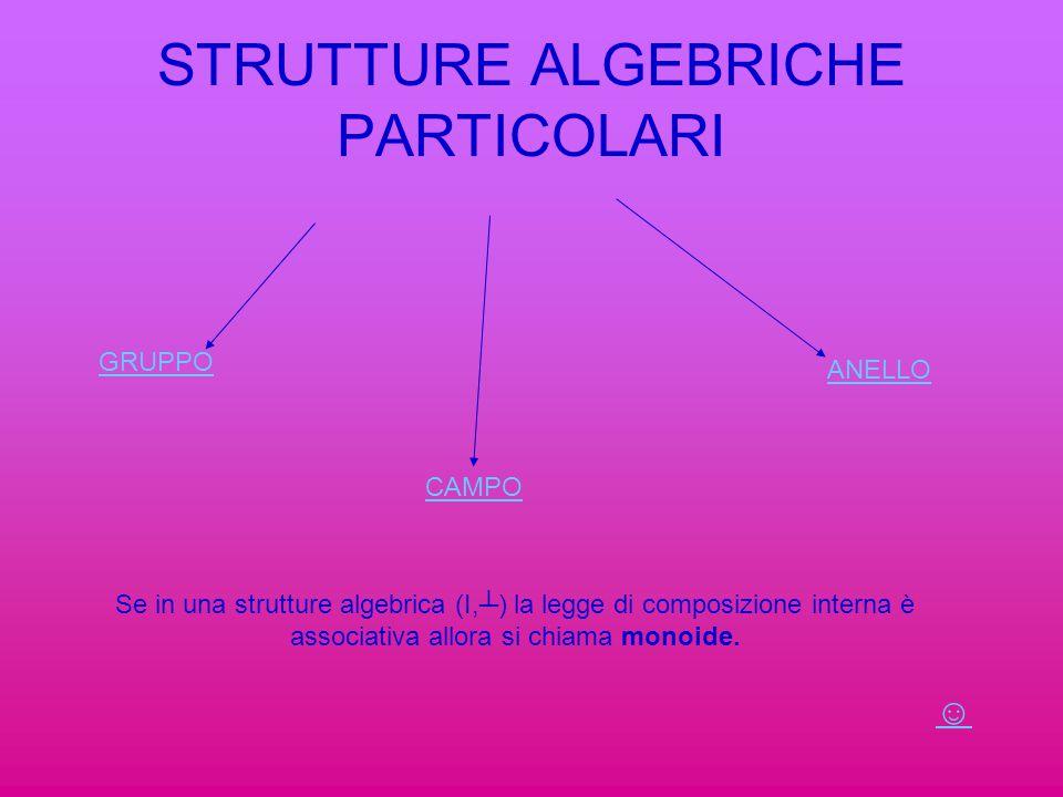 STRUTTURE ALGEBRICHE PARTICOLARI GRUPPO CAMPO ANELLO Se in una strutture algebrica (I,┴) la legge di composizione interna è associativa allora si chia