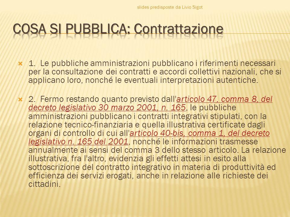  1. Le pubbliche amministrazioni pubblicano i riferimenti necessari per la consultazione dei contratti e accordi collettivi nazionali, che si applica