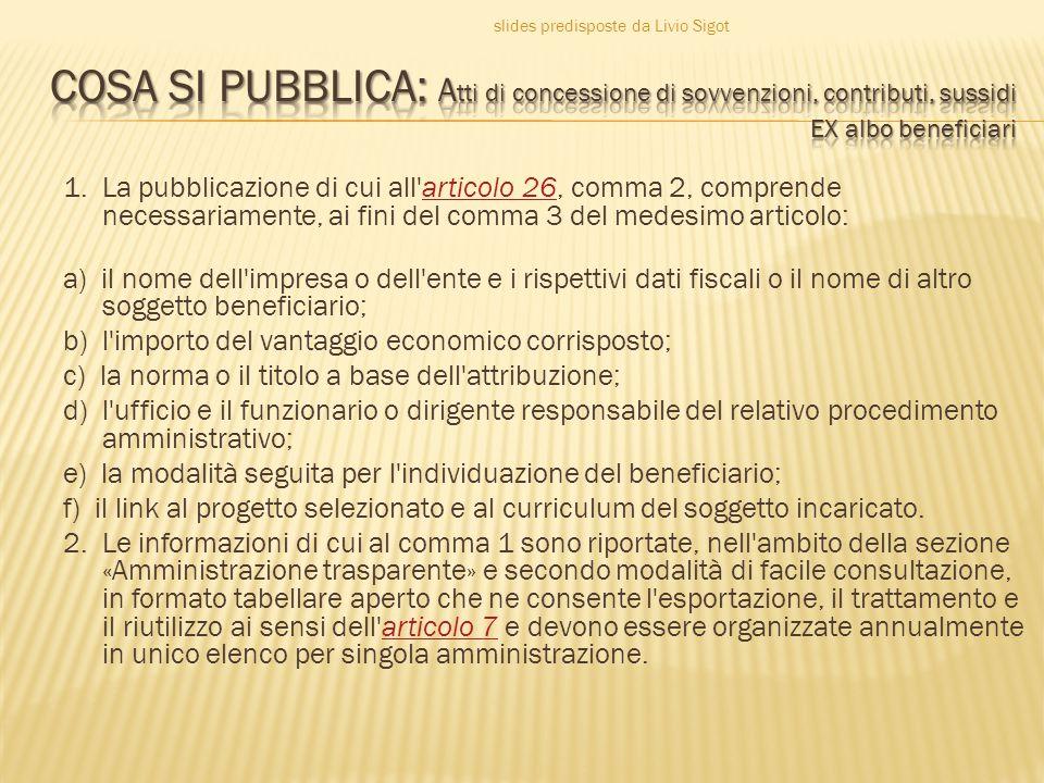 1. La pubblicazione di cui all'articolo 26, comma 2, comprende necessariamente, ai fini del comma 3 del medesimo articolo:articolo 26 a) il nome dell'