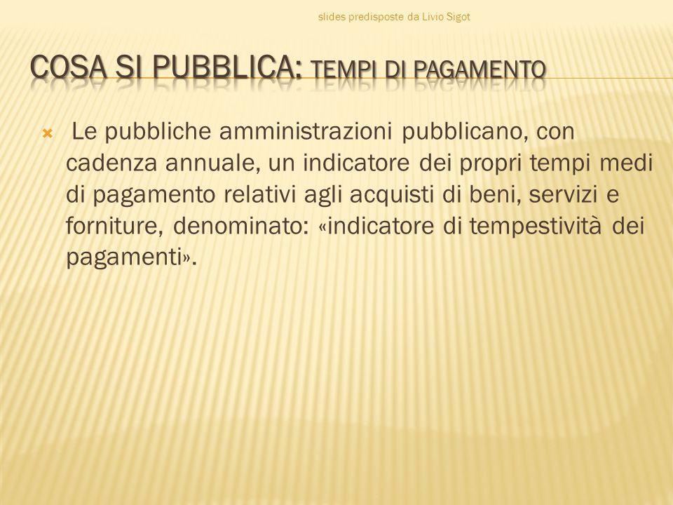  Le pubbliche amministrazioni pubblicano, con cadenza annuale, un indicatore dei propri tempi medi di pagamento relativi agli acquisti di beni, servizi e forniture, denominato: «indicatore di tempestività dei pagamenti».