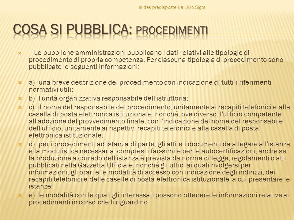  Le pubbliche amministrazioni pubblicano i dati relativi alle tipologie di procedimento di propria competenza.