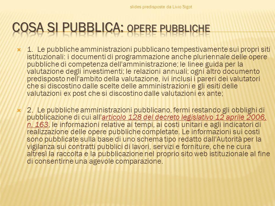  1. Le pubbliche amministrazioni pubblicano tempestivamente sui propri siti istituzionali: i documenti di programmazione anche pluriennale delle oper