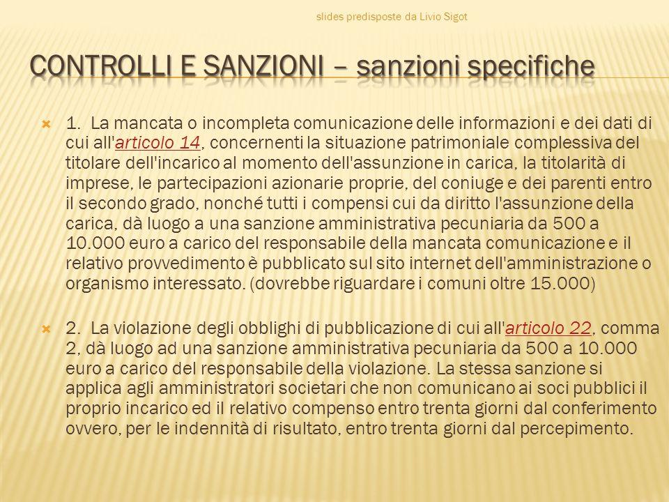  1. La mancata o incompleta comunicazione delle informazioni e dei dati di cui all'articolo 14, concernenti la situazione patrimoniale complessiva de