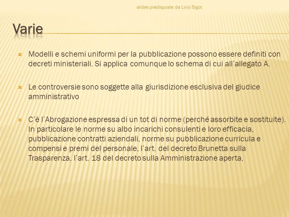  Modelli e schemi uniformi per la pubblicazione possono essere definiti con decreti ministeriali.