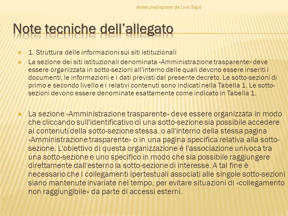  1. Struttura delle informazioni sui siti istituzionali  La sezione dei siti istituzionali denominata «Amministrazione trasparente» deve essere orga