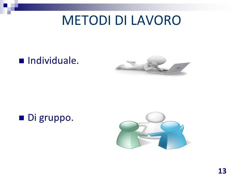 METODI DI LAVORO 13 Individuale. Di gruppo.