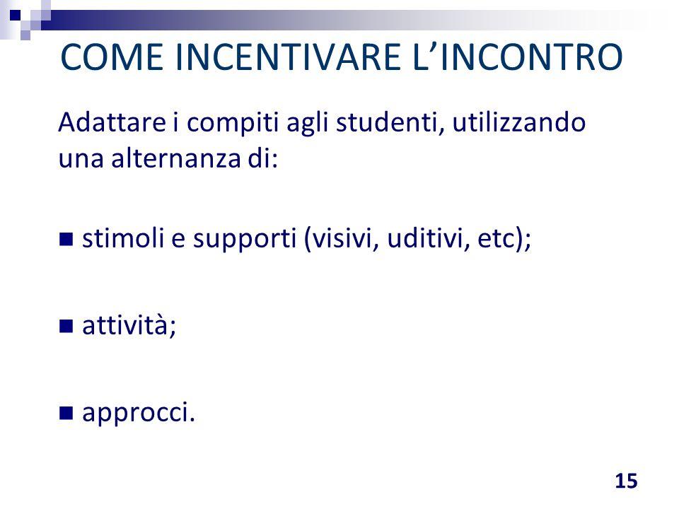 Adattare i compiti agli studenti, utilizzando una alternanza di: stimoli e supporti (visivi, uditivi, etc); attività; approcci. COME INCENTIVARE L'INC