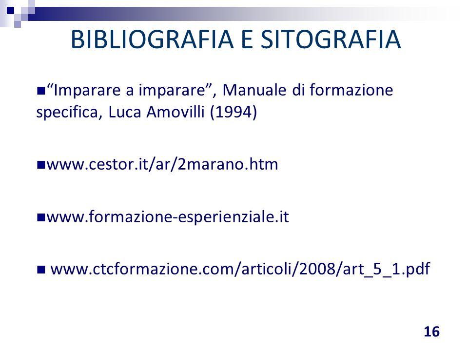 """BIBLIOGRAFIA E SITOGRAFIA 16 """"Imparare a imparare"""", Manuale di formazione specifica, Luca Amovilli (1994) www.cestor.it/ar/2marano.htm www.formazione-"""