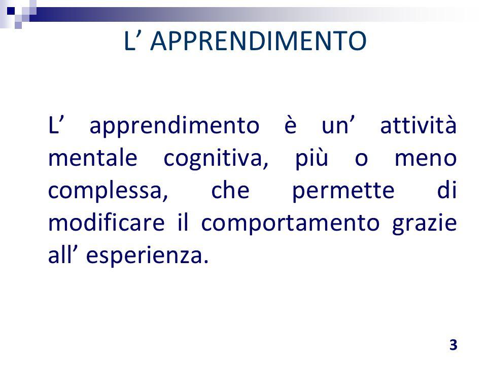 L' apprendimento è un' attività mentale cognitiva, più o meno complessa, che permette di modificare il comportamento grazie all' esperienza. L' APPREN