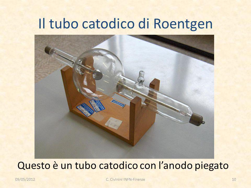 Il tubo catodico di Roentgen Questo è un tubo catodico con l'anodo piegato 09/05/201210C. Civinini INFN-Firenze