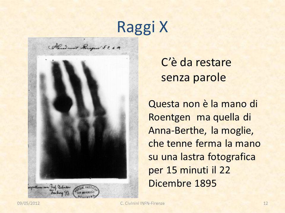 Raggi X C'è da restare senza parole Questa non è la mano di Roentgen ma quella di Anna-Berthe, la moglie, che tenne ferma la mano su una lastra fotogr