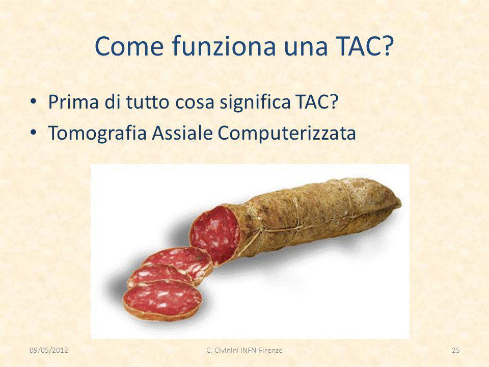 Come funziona una TAC? Prima di tutto cosa significa TAC? Tomografia Assiale Computerizzata 09/05/201225C. Civinini INFN-Firenze