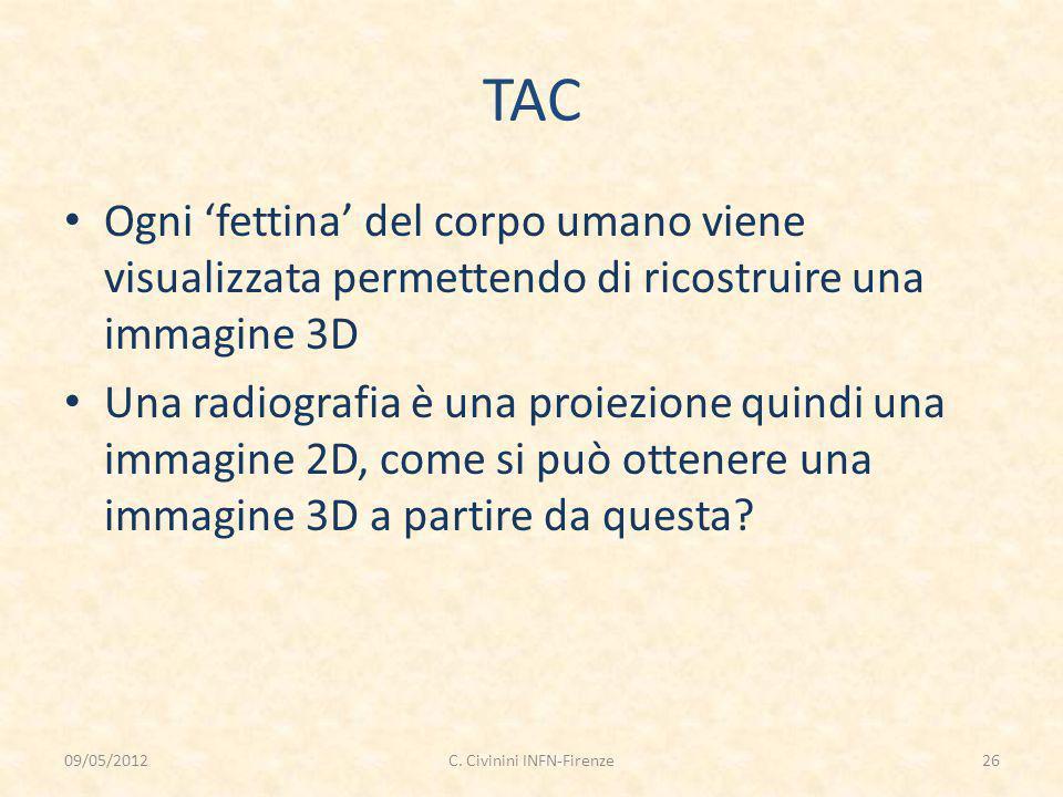 TAC Ogni 'fettina' del corpo umano viene visualizzata permettendo di ricostruire una immagine 3D Una radiografia è una proiezione quindi una immagine