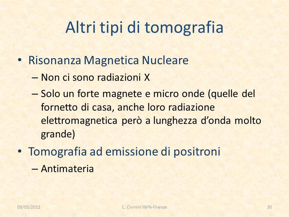 Altri tipi di tomografia Risonanza Magnetica Nucleare – Non ci sono radiazioni X – Solo un forte magnete e micro onde (quelle del fornetto di casa, an