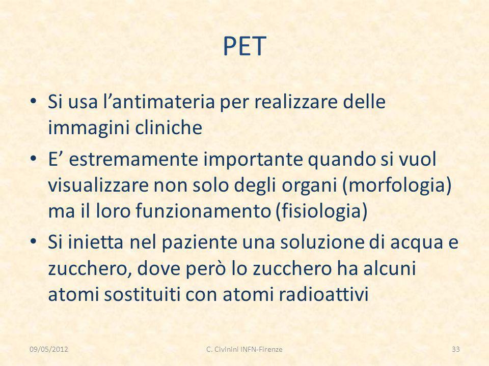 PET Si usa l'antimateria per realizzare delle immagini cliniche E' estremamente importante quando si vuol visualizzare non solo degli organi (morfolog