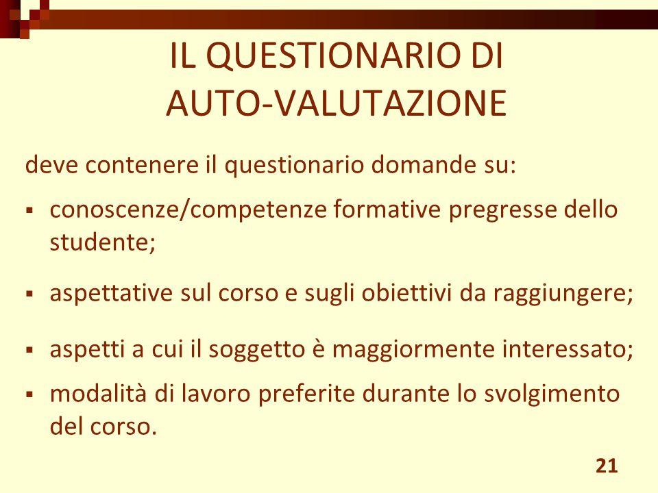 IL QUESTIONARIO DI AUTO-VALUTAZIONE 21 deve contenere il questionario domande su:  conoscenze/competenze formative pregresse dello studente;  aspett