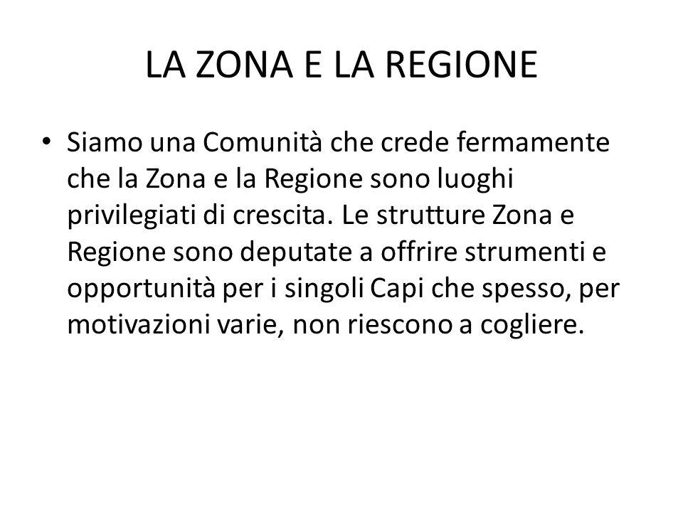 LA ZONA E LA REGIONE Siamo una Comunità che crede fermamente che la Zona e la Regione sono luoghi privilegiati di crescita. Le strutture Zona e Region