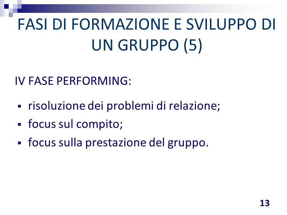 FASI DI FORMAZIONE E SVILUPPO DI UN GRUPPO (5)  risoluzione dei problemi di relazione;  focus sul compito;  focus sulla prestazione del gruppo. 13