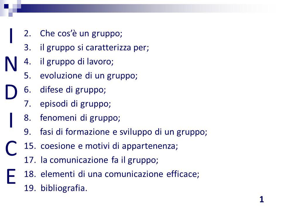 INDICEINDICE 2. Che cos'è un gruppo; 3. il gruppo si caratterizza per; 4. il gruppo di lavoro; 5. evoluzione di un gruppo; 6. difese di gruppo; 7. epi