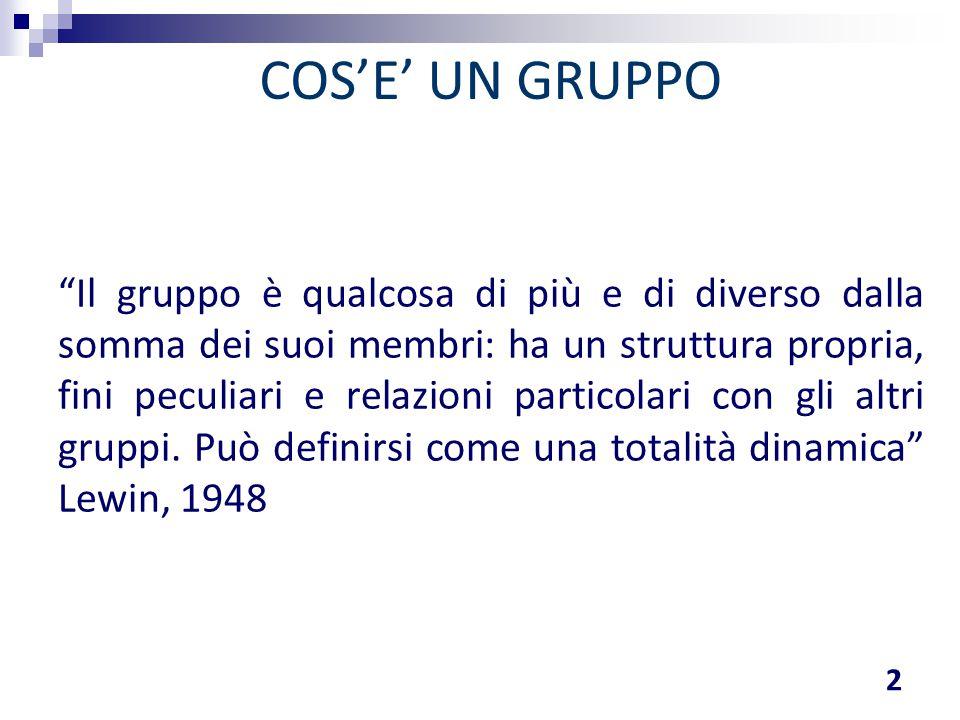 """""""Il gruppo è qualcosa di più e di diverso dalla somma dei suoi membri: ha un struttura propria, fini peculiari e relazioni particolari con gli altri g"""