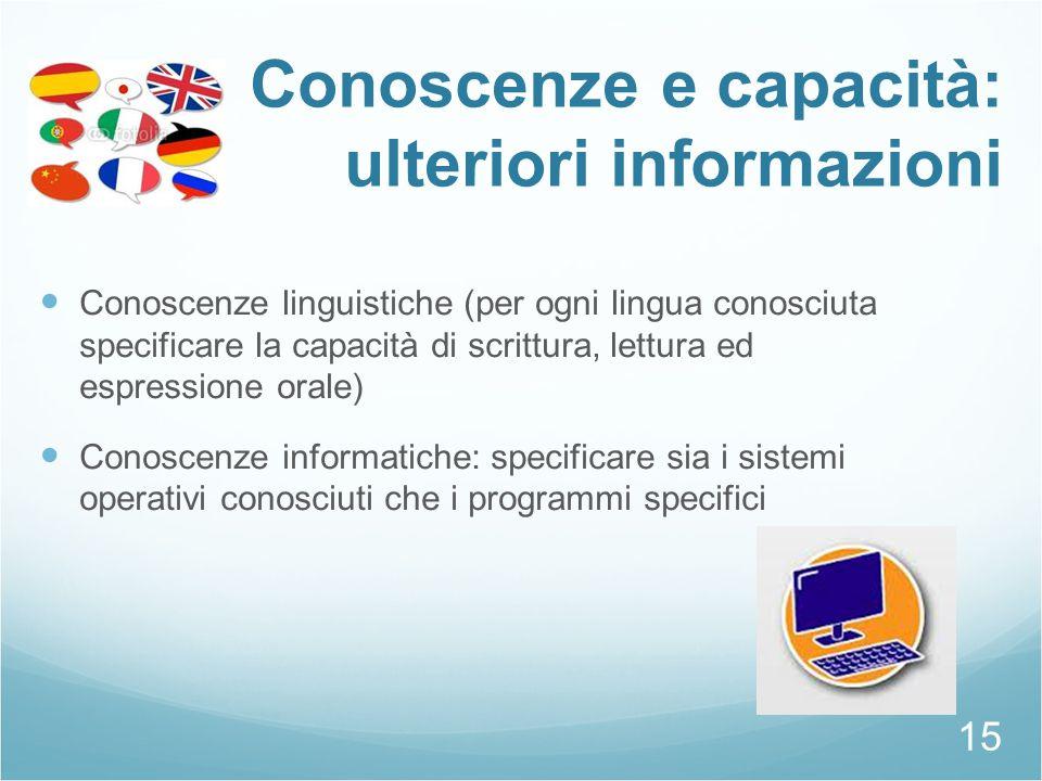 Conoscenze e capacità: ulteriori informazioni Conoscenze linguistiche (per ogni lingua conosciuta specificare la capacità di scrittura, lettura ed esp