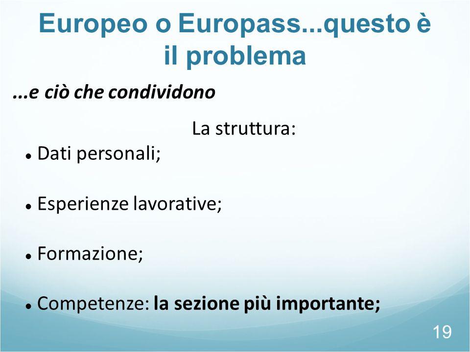 Europeo o Europass...questo è il problema 19 La struttura: Dati personali; Esperienze lavorative; Formazione; Competenze: la sezione più importante;..