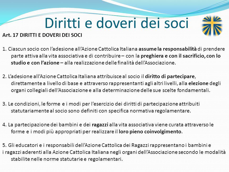 Diritti e doveri dei soci Art.17 DIRITTI E DOVERI DEI SOCI 1.