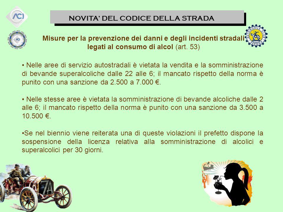 NOVITA' DEL CODICE DELLA STRADA Misure per la prevenzione dei danni e degli incidenti stradali legati al consumo di alcol (art.