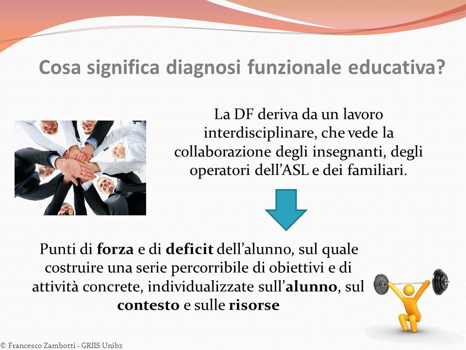 La DF deriva da un lavoro interdisciplinare, che vede la collaborazione degli insegnanti, degli operatori dell'ASL e dei familiari. Punti di forza e d