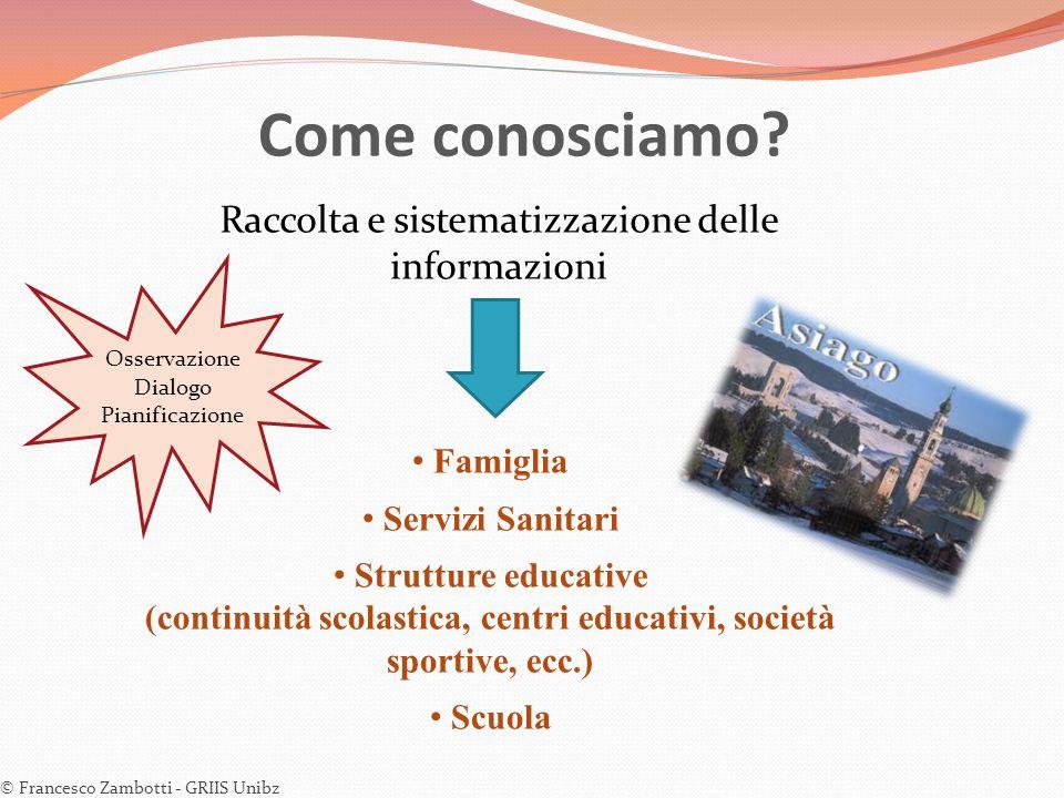 Come conosciamo? © Francesco Zambotti - GRIIS Unibz Raccolta e sistematizzazione delle informazioni Famiglia Servizi Sanitari Strutture educative (con