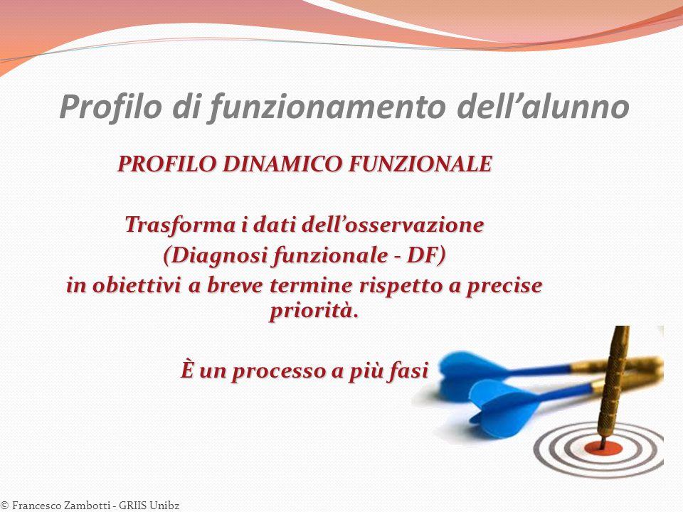 Profilo di funzionamento dell'alunno PROFILO DINAMICO FUNZIONALE Trasforma i dati dell'osservazione (Diagnosi funzionale - DF) in obiettivi a breve te