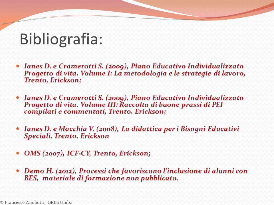 Bibliografia: Ianes D. e Cramerotti S. (2009), Piano Educativo Individualizzato Progetto di vita. Volume I: La metodologia e le strategie di lavoro, T